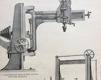 1880 Whitworth's Self-Acting Radial Drilling Machine & Muir's Planing Machine Original Antique Engraving - Carpentry - Victorian Technology
