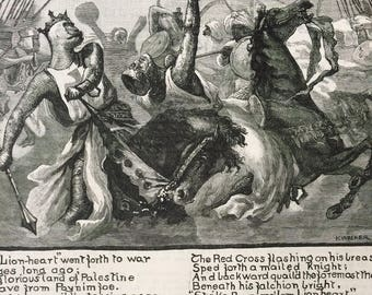 1891 Richard Lionheart Illustrated Poem Original Antique Matted Engraving - Victorian Decor - Battle Scene - British History