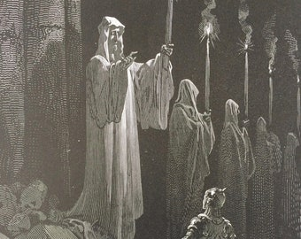 1870 Legend of Croquemitaine - The Corpse Candles - Original Antique Gustave Dore Engraving - Mounted and Matted - The Days of Chivalry