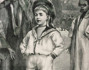 1892 'The Young Briton Abroad' Original Antique Engraving - Available Framed - Victorian Decor - Child - Children