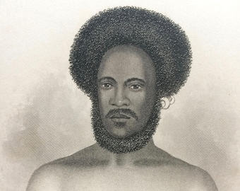 1854 Ko-M'Beti, Native of the Feejee Islands Original Antique Engraving - Papuan Race, Fiji, Pacific Islands - Human Races - Anthropology