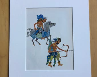 1972 Original Vintage Children's Book Illustration - Indonesian Fairy Tales - Nursery Decor - Mounted and Matted - Indonesia