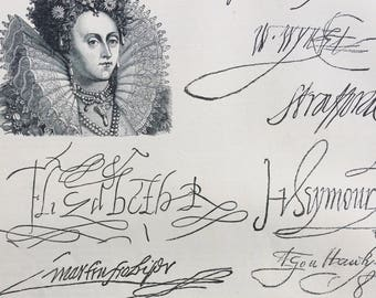 1889 Autographs Original Antique Engraving - Historical Characters - matted and ready to frame - Victorian Decor - Queen Victoria