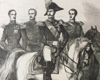 1855 The Emperor Alexander of Russia and the Grand Dukes Original Antique Engraved Newspaper Illustration, Russian History, Russia