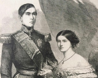 1858 The King and Queen of Portugal Original Antique Engraved Newspaper Illustration, Victorian Decor, Royalty, Portuguese history