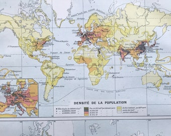 1897 Population Density and Religions Original Antique World Map - Mounted and Matted - Available Framed