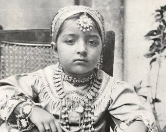 1940s Bejewelled Daughter of India Original Vintage Print - Mounted and Matted - Portrait Photography - Child - Available Framed