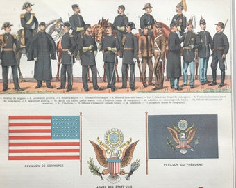 1897 United States - Army and Flags Original Antique Print - Military Decor - USA History - Mounted and Matted - Available Framed