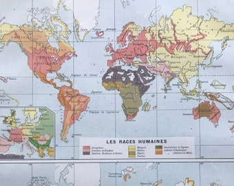 1897 Human Races and Discovery of the World Original Antique Map - Ethnology - Exploration - Mounted and Matted - Available Framed