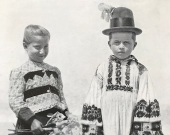 1940s Children of Hungary Original Vintage Photo Print - Mounted and Matted - Hungarian Culture - Traditional Dress - Available Framed