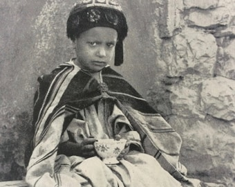 1940s Arabian Boy Original Vintage Print - Mounted and Matted - Portrait Photography - Child - Children - Available Framed