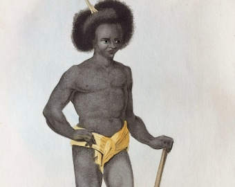 1855 Native of the Papua Islands Original Antique Hand Coloured Engraving - Human Races - Anthropology - Ethnography