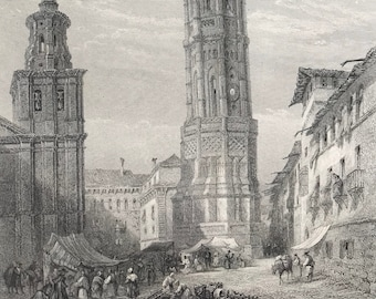 1876 The Leaning Tower, Saragossa Original Antique Steel Engraving - Mounted and Matted - Zaragoza Aragon Spain - Available Framed