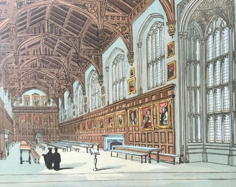 1846 Christ Church Hall, Oxford Original Antique Print - Oxford University - Mounted and Matted - Available Framed