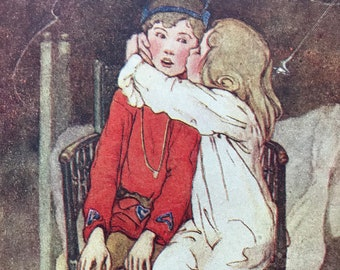 1944 Peter Pan Illustration Original Vintage Print - Nursery Decor - Children's Literature - Mounted and Matted - Available Framed