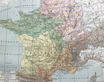 1897 Gaule Original Antique Map - French History - France - Mounted and Matted - Available Framed