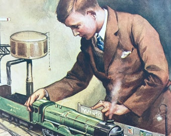 1928 The Young Engineer Original Vintage Print - Railway Engineering - Mounted and Matted - Available Framed