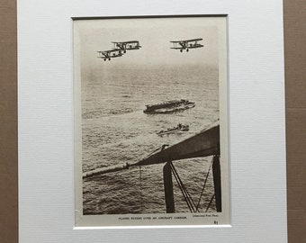 1940 Planes Flying over an Aircraft Carrier Original Vintage Print - Mounted and Matted - Aircraft - Airplane - Available Framed