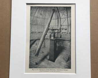 1913 The Telescope at Yerkes Observatory, University of Chicago Original Antique Print - Astronomy - Mounted and Matted - Available Framed