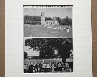 1940s Cricket - Part of the English Scene Original Vintage Print - Mounted and Matted - Devon - Canterbury - Sports Decor - Available Framed
