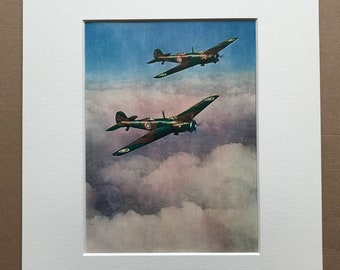 1940 Vickers' 'Wellesleys' Long-Distance Bombers Original Vintage Print - Mounted and Matted - Aircraft - Airplane - RAF - Available Framed