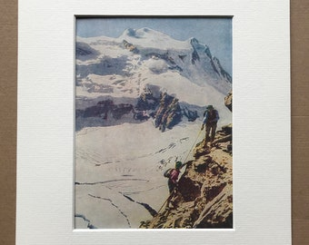 1940s Climbing in the Swiss Alps Original Vintage Print - Explorer - Mountain - Switzerland - Mounted and Matted - Available Framed