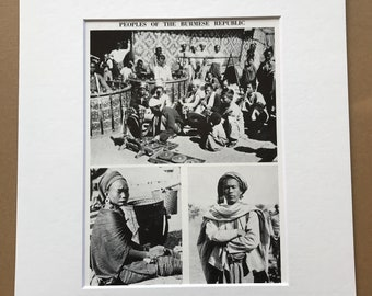 1940s Peoples of the Burmese Republic Original Vintage Photo Print - Myanmar - Burma - Mounted and Matted - Available Framed