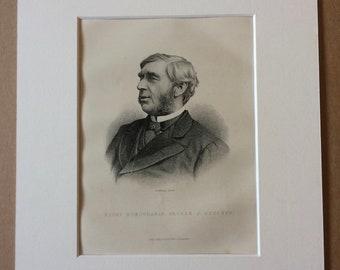 1890 George J Goschen Original Antique Engraving - Mounted and Matted - Available Framed - Portrait- Portraiture - Politics - Statesman