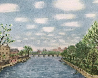 1956 Paris - Marvellous Clouds from the Pont Neuf Original Vintage Chiang Yee Illustration - Mounted and matted - Available Framed