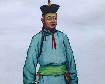1967 Mongolian National Costumes - Khalkha Man's Summer Costume Original Vintage Print - Mounted and Matted - Available Framed - Mongolia