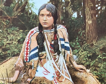 1940s Native American Girl of the Ojibwa Tribe Original Vintage Print - Mounted and Matted - Available Framed - Ojibwe - Chippewa