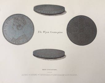 1862 The Wyon Crown-Piece Original Antique Lithograph - Mounted and Matted - Coin - Numismatics - Coin Collector - Crown