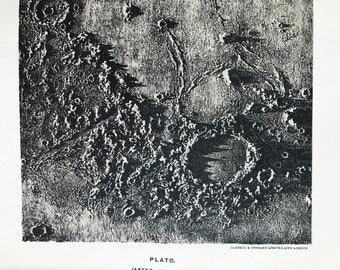 1913 Plato Original Antique Print - Astronomy - Celestial Art - Lunar Crater - Moon - Mounted and Matted - Available Framed