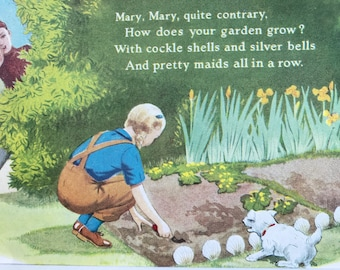 1940s Mary, Mary - Quite Contrary Original Vintage Illustration - Mounted and Matted - Nursery Rhyme Illustration - Available Framed