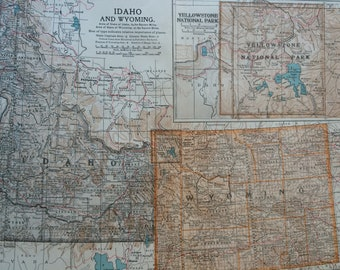 1903 Idaho and Wyoming Original Large Antique Map  with inset map of Yellowstone National Park - 11 x 16 Inches - Detailed Map - Geography
