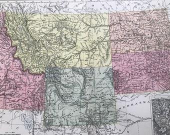1875 Wyoming, Idaho, Montana & Dakota Original Antique Map with inset map of Yellowstone Park - US State - South Dakota - North Dakota