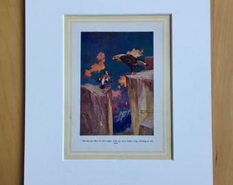 1935 Original Vintage Children's Book Illustration - Aesop's Fables - The Jay and the Nightingale - Nursery Decor  Mounted and Matted