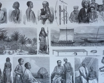 1870 Zanzibar and Swahili Peoples - African Tribes, Art and Culture Large Original Antique Engraved Illustration - Ethnography