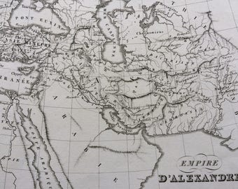 1822 Empire d'Alexandre Original Antique Engraved Ancient History Map - Fine Detail - World Map - Cartography - Alexander the Great
