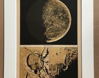 1888 Waxing Moon Original Antique Lithograph - Last Moon Quarter - Lunar Landscape - Celestial Art - Astronomy - Available Framed