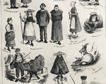 1883 Swiss Folk Caricatures Original Antique Engraving - Mounted and Matted - Victorian Decor - Switzerland