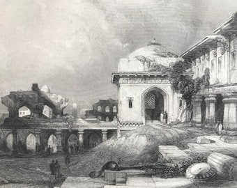 1871 Ruins at Futtipur, Sikra Original Antique Steel Engraving - India - Mounted and Matted - Available Framed
