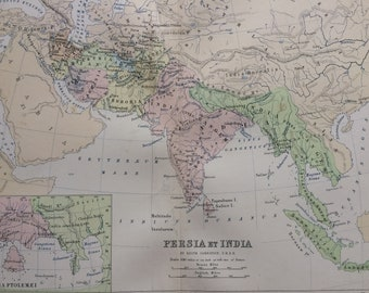 1876 Persia et India Original Antique Map with inset map of India Ptolemei - Classics - Ancient History Map -  Gift Idea