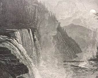 1895 High Falls, Trenton Falls, New York Original Antique Wood Engraving - Mounted and Matted - Decorative Art - Available Framed