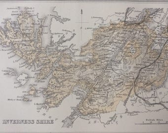 1870 Inverness-shire Original Antique Map, Scotland county cartography, mounted and matted 10 x 12 inches, Available Framed