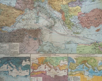 1914 MEDITERRANEAN SEA Large Original Antique Map, 17 x 22 inches, historical wall decor, Debes Atlas, Home Decor, Cartography, Geograph