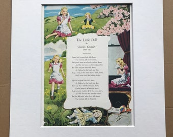1940s The Little Doll by Charles Kingsley Original Vintage Print - Mounted and Matted - Poetry - Illustrated Poem - Available Framed