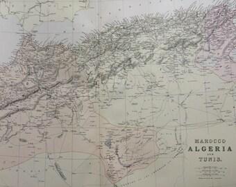 1882 Marocco, Algeria & Tunis Large Original Antique Map, 15 x 22 inches, Home Decor, North Africa, Morocco, Tunisia, Maghreb, Sahara