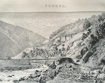 1891 St Gotthard Tunnel - The Three Levels near Biasca Original Antique Encyclopaedia Illustration - Civil Engineering - Available Framed