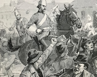 1900 Dragoons and Highlanders scattering the rioters in Belfast Original Antique Print - Ireland - Mounted and Matted - Available Framed
